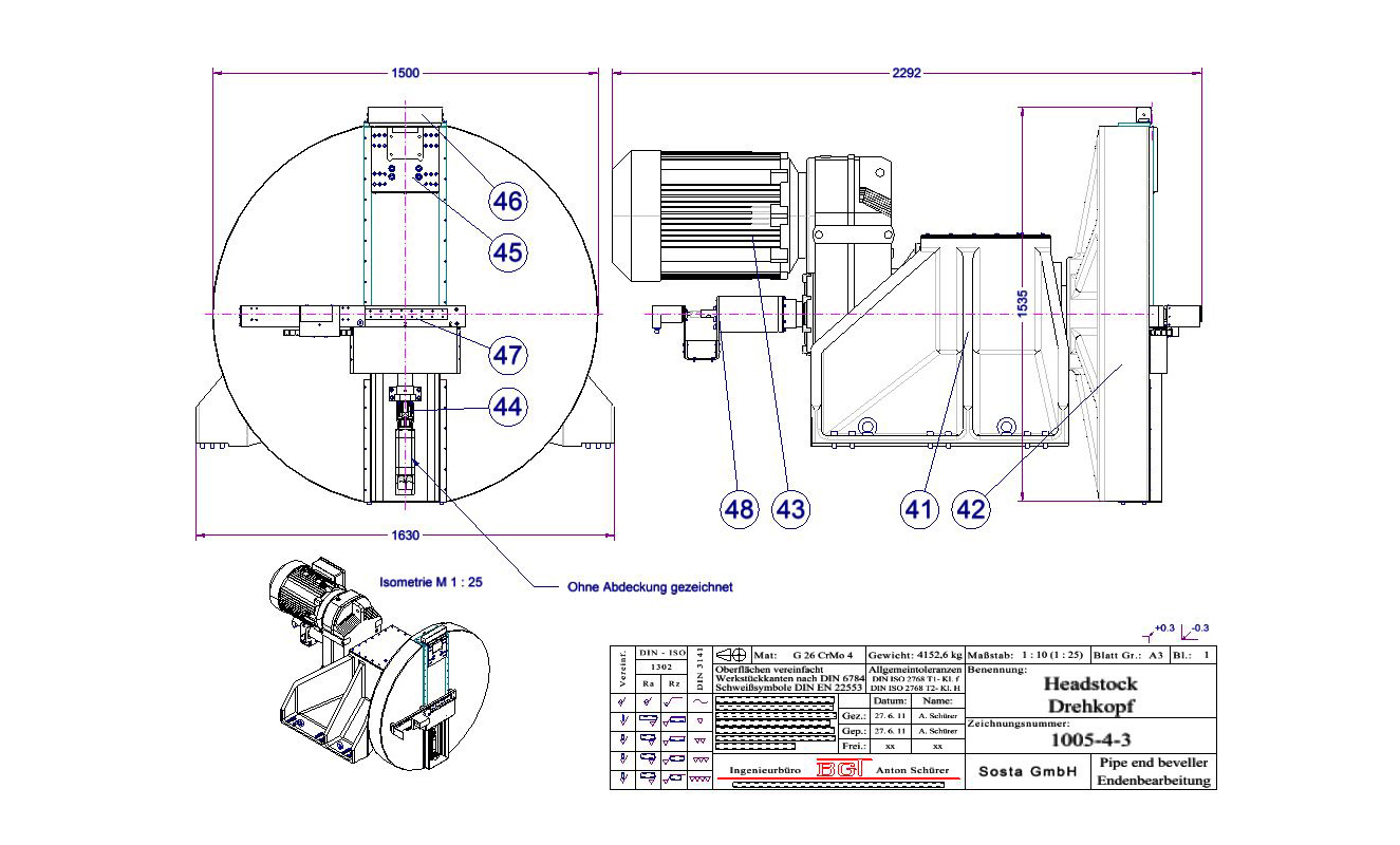 Machines head with laser copying system and single tool support